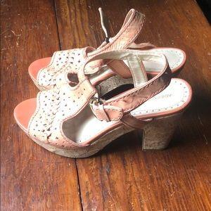 Salmon Leather Cork Heels